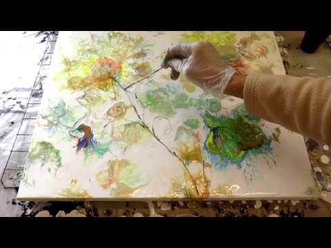 Заливка акрилом. Имитация цветов надувным шариком.