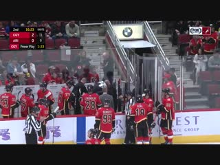 Flames coach Bill Peters just left the bench after he took a puck to the face.