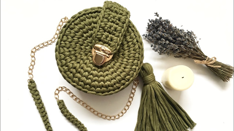 Круглая сумка из трикотажной пряжи крючком.часть 1 Crochet bag. Сумка пухляшка, узор галочка