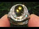 FLAWLESS Natural Chrome Green Tourmaline Diamond 14k Gold Estate Ring - C878