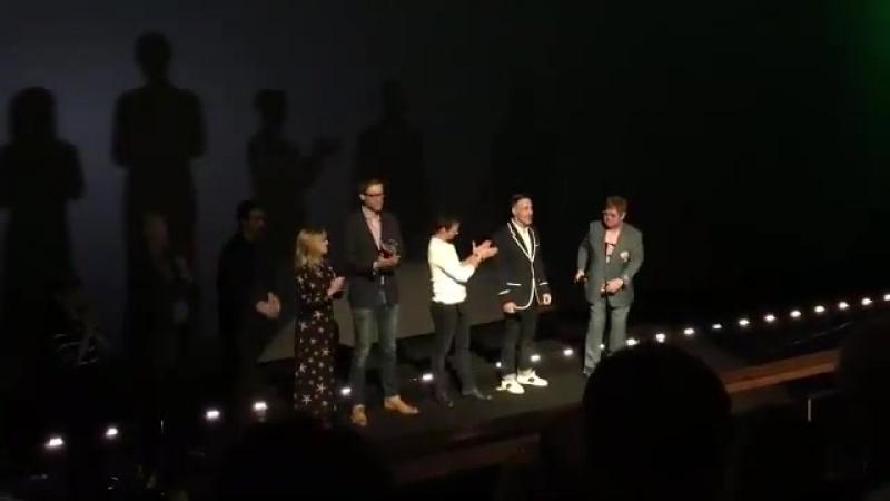 Sir Elton John introduced this morning's SherlockGnomes screening - wonder if James McAvoy Stephen Merchant took their bread