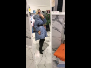 пальто голубое с мехом