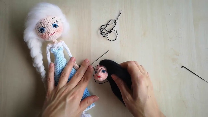 Amigurumi keçe saç yapımı how to make yarn felt hair for dolls