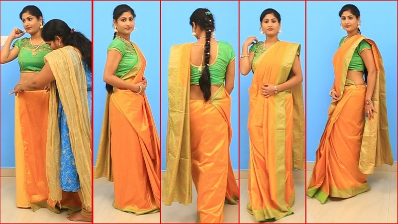 Gujarathi Style Saree Draping Tutorial Step By Step | Indian Traditional Saree Draping Styles
