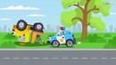 мультики про машинки экскаватор полиция играет в мяч