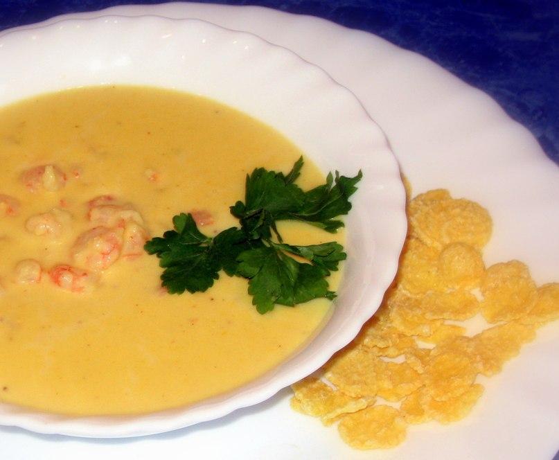 кукурузный суп пюре с креветками