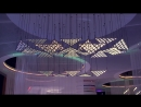 Living Sculpture kinetic light installation with DMX winches and motorized OLED light elements