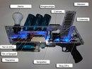 Показаны.  Приблизительная схема.  Батарея конденсаторов; Блок зарядки конденсаторов; Катушка и диод...