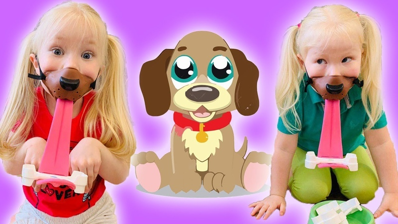 Мама придумала веселый челлендж Vika Nika Tory теперь собачки Игра Fetch