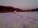 18.03.2018г. 10 градусов.Последний ледовый дрифт.Тает и лужи на льду.