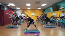 All Out Cardio Step Kickboxing! High Calorie Burn!