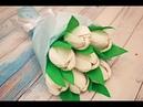 Тюльпан из гофрированной бумаги с конфетой внутри к 8 марта / How to make crepe paper flowers