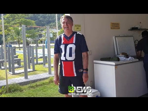 Bolsonaro DANDO AQUELA MORAL AO PSG neste domingo com camisa que ganhou do PAI DO NEYMAR