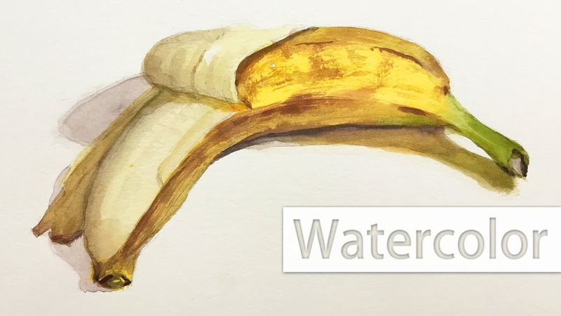 Watercolor painting of a banana - wet and dry brush techniques