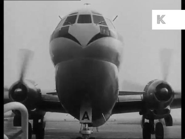 Early 1950s UK Airport, Plane on Runway
