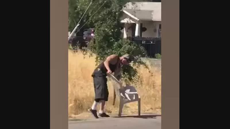Man vs Plastic Chair