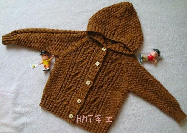 Вязаная курточка с капюшоном для мальчика… (9 фото) - картинка