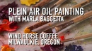 Plein Air Oil Painting Wind Horse Coffee Shop