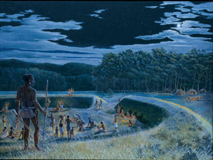 Painting from the Ancient Ohio art series depicting an Early Woodland/Adena (800 BC - AD 1) gathering at a ceremonial earthwork in the Hocking River Valley.