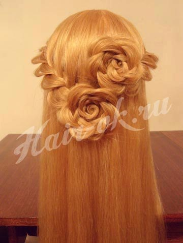 Плетение розы на волосах