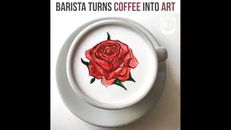 Barista turns coffee into art
