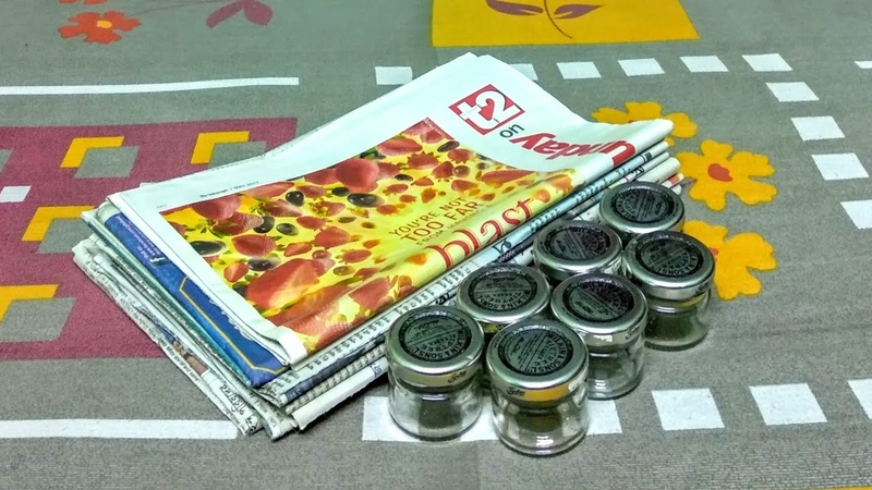 How to make Kitchen Organizer using Newspaper Jam Jars(UNIQUE)