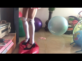 Peanut balls inflated and high heel pop
