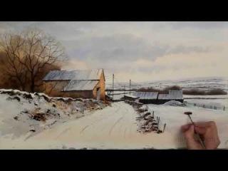 Акварель Пейзаж - скоростная живопись зимний вечер