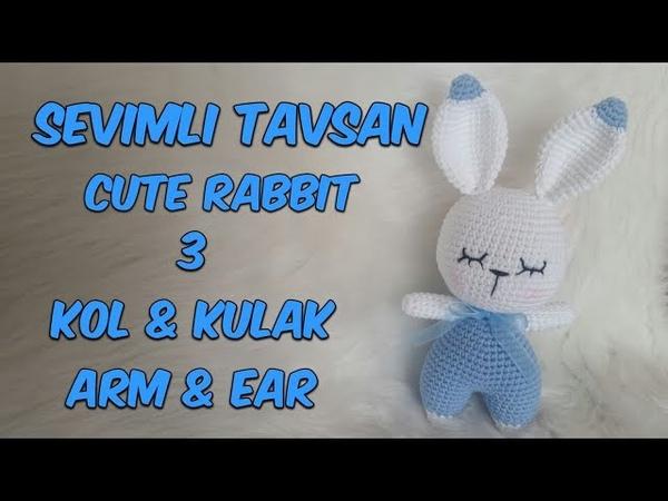 Amigurumi Örgü Oyuncak Tavşan 3 Kol Kulak Amigurumi Crochet Rabbit 3 Arm Ear