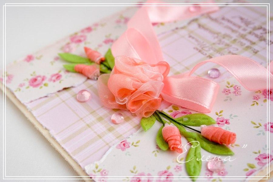 Цветы из ленточек на открытку