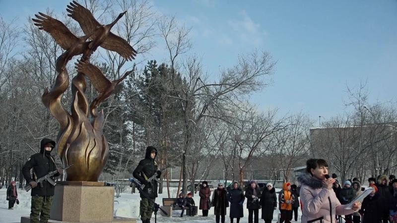 Торжественное открытие памятника Журавли моей памяти 1 марта 2018 г город Сосновоборск