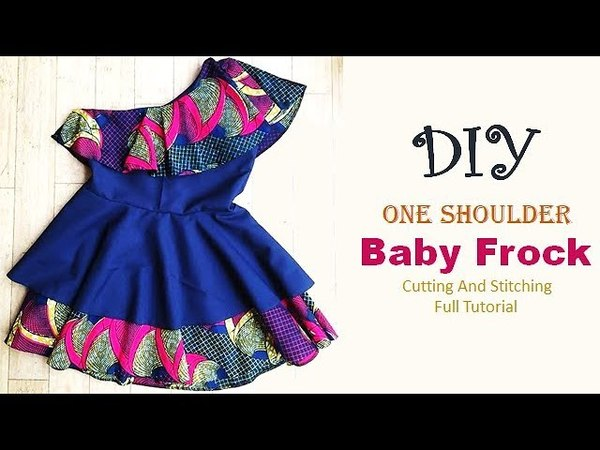 DIY One Shoulder Baby Frock With Cape Cutting And Stitching Tutorial