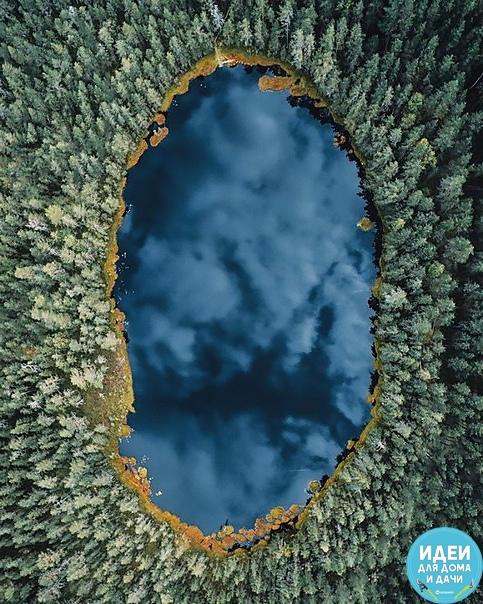 Озеро в Карелии, обрамлённое лесами!