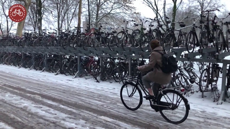 Cycling in the snow Utrecht NL