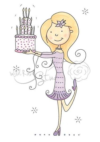 Открытки с днем рождения с девочкой из торта