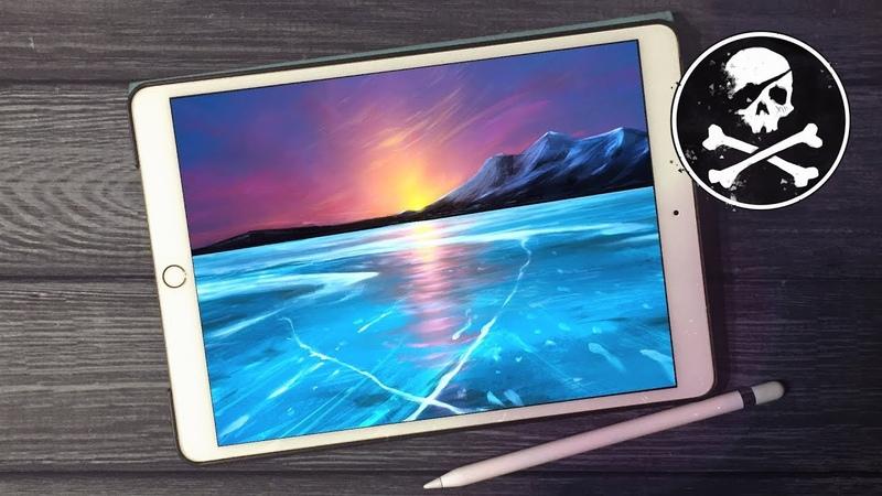 Painting Frozen Baikal with Procreate ● iPad art ● Timelapse