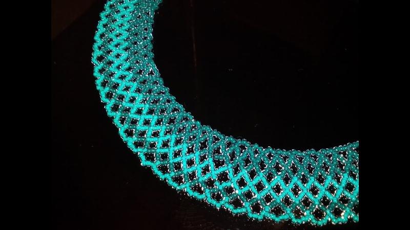 Tutorial: beaded necklace. Колье из бисера. Плетение сетки