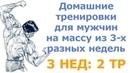 Домашние тренировки для мужчин на массу из 3-х разных недель (3 нед: 2 тр)