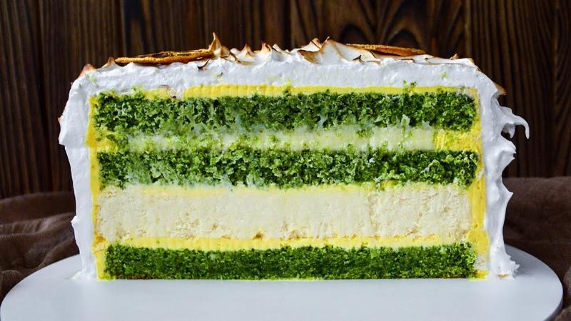 Торт МЯТА-ЛИМОН с ЧИЗКЕЙКОМ ВНУТРИ ☆ MINT-LEMON cake with Cheesecake