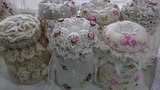 Altered Canvas bagfabric flowers pin cushion jarspaper bag cardLace gift bag