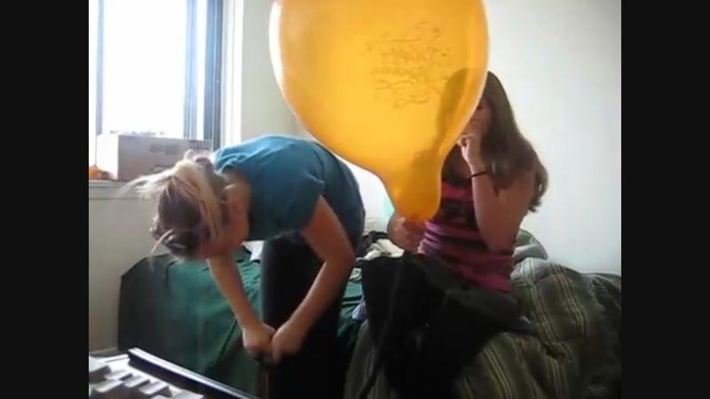 Girls pump to pop loud balloon broken eardrum ouch