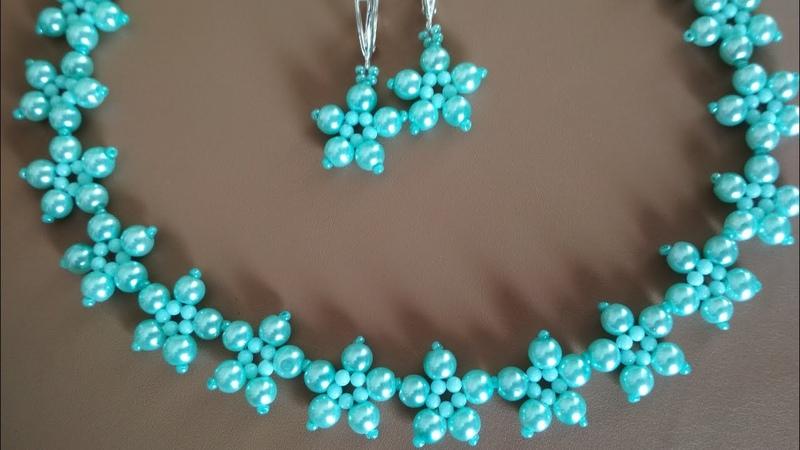 Necklace and earrings DIY Колье и серьги из бусин МК