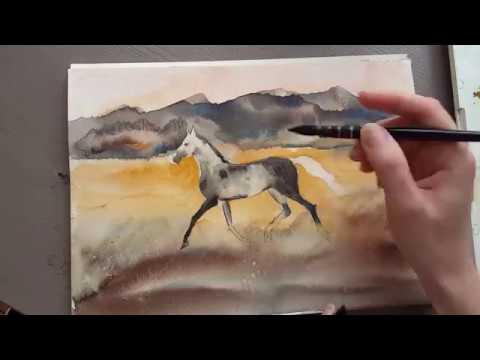 Young horse Watercolor process