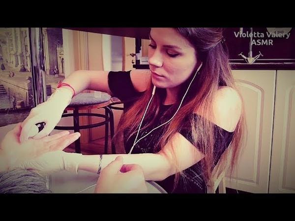 АСМР латексные перчатки, массаж рук ASMR hand massage with latex gloves (real person)