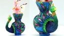 DIY Clay Pot Painting and Designs How to Decorate Flower Pot with Clay Clay Peacock Tutorial