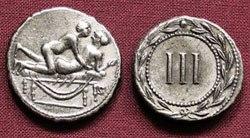 Древнеримские женщины-богини, монеты, спинтрии для оплаты сексуальных услуг