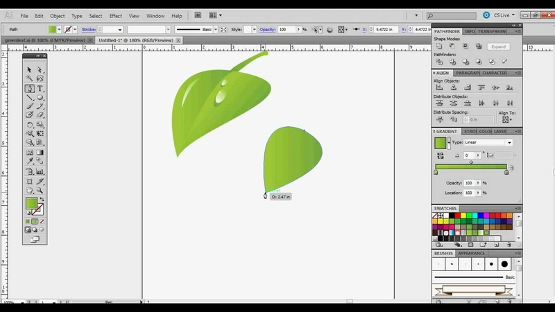How To Draw A Leaf in CS5 Illustrator - Beginner Tutorial - Using the Pen Tool and Gradients