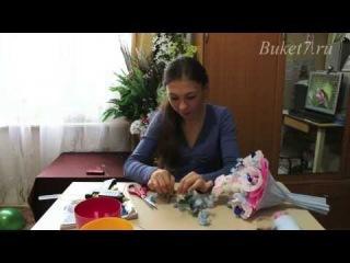 Ручной букет из конфет с игрушкой своими руками