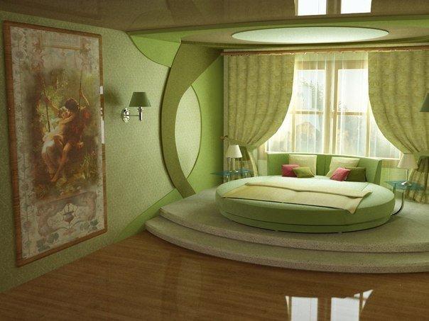 Спальня в салатовых тонах (1 фото) - картинка