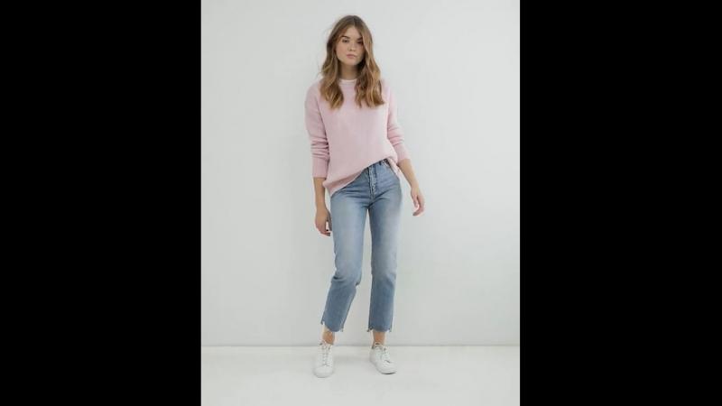 Нежно-розовый удлиненный джемпер свитер New Look ASOS